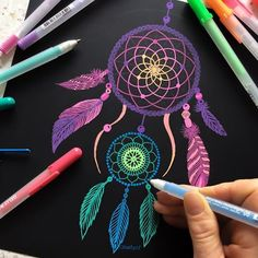 Mandalas Painting, Mandalas Drawing, Dot Painting, Zentangles, Dream Catcher Drawing, Dream Catcher Mandala, Dibujos Zentangle Art, Indian Drawing, Black Paper Drawing