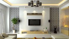 Looking for living room design ideas? Here's a big showcase designs of amazing contemporary living room interior that are complemented with beautiful Living Room Wallpaper Tv, Living Room Decor Tv, Interior Design Living Room, Living Room Furniture, Living Room Designs, Tv Furniture, Wood Wallpaper, Modern Wallpaper, Furniture Ideas