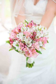 July Wedding Flower Bouquet Bridal Flowers Arrangements Alstroemeria pink bouquets bridesmaids