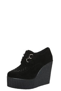Riya Black Wedge Suedette Creeper