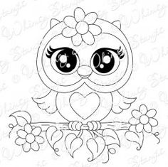 Whimsy Stamps - Rubber Stamps, Clear Stamps, and more Coruja Owl Coloring Pages, Coloring Books, Tole Painting, Fabric Painting, Whimsy Stamps, Owl Crafts, Owl Art, Cute Owl, Clear Stamps