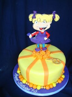 A rugrats birthday cake a 6 inch lemon cake 8 inch and for Angelica cake decoration