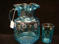 Victorian Blue Glass Six Piece Lemonade Set: : Lot 197