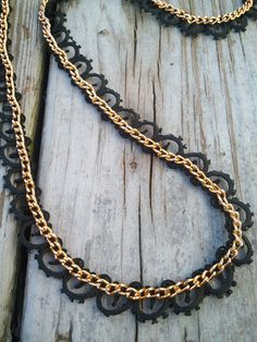 Carry on...Carry on...: DIY Lace and Chain necklace