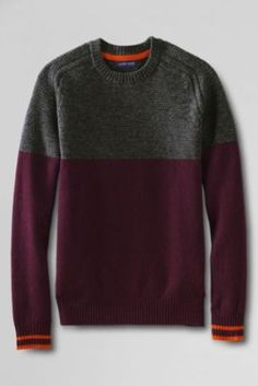 Men s Slim Fit Lambswool Textured Yoke Crewneck Sweater from Lands  End Men  Sweater, Sweater f9e6a789f97