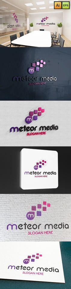 """@Behance projeme göz atın: """"M Letter Logo - Meteor Media Logo""""…"""