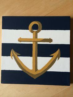 Nautical Stripe Anchor Canvas Painting