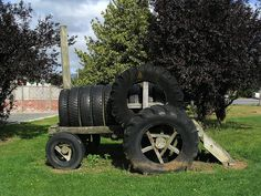 Tractor made out of used tires in New Zealand.