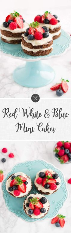 These Red White Blue Mini Cakes are an easy of July dessert recipe. They are gluten-free and paleo-friendly. Also, a great dessert for Memorial Day. Easy Cake Recipes, Best Dessert Recipes, Cupcake Recipes, Sweet Recipes, Baking Recipes, Holiday Recipes, Healthy Recipes, Summer Recipes, Healthy Eats