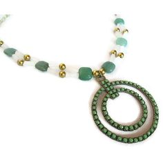 Green Adventurine Crystal Quartz Necklace Gold Pendant Necklace... ($25) ❤ liked on Polyvore featuring jewelry, necklaces, gold pendant necklace, bib statement necklace, quartz necklace, quartz pendant necklace and gold necklaces