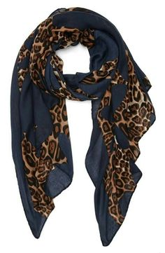 Navy blue & cheetah print scarf