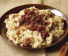 VEGANIZE: Caramelized Onion Risotto (veg broth, Earth Balance, vegan cheese)
