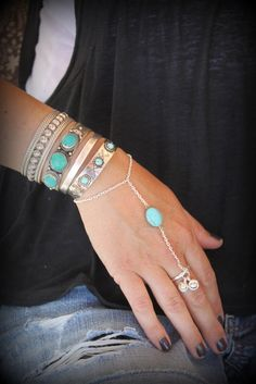 Fabulous silver and Turquoise slave bracelet Adjustable Hand piece Unique Ethnic style bracelet India Silver bells Nomadic Bohemian