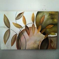 Abstrato com Folhas - Simone - Espaço da Arte
