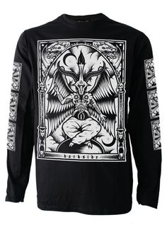 9abc23d94 BAPHOMET Long Sleeve T SHIRT Top Biker Goth Metal Satan Occult Symbol  Darkside