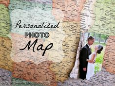Cut, Craft, Create: Personalized Photo Map {for our Paper Anniversary}   found here: http://cutcraftcreate.blogspot.ca/2014/02/personalized-photo-map-for-our-paper.html