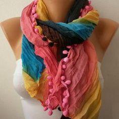 Etsy - Rainbow Women Shawl Scarf - Headband Necklace Cowl/76965808