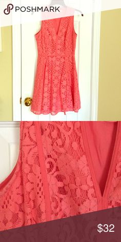 Coral Lace Dress Sleeveless Coral Dress. Worn Once - Great Condition LC Lauren Conrad Dresses