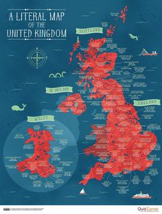 A map of the UK, showing what the literal translation of every county in England, Scotland, Wales and Northern Ireland means Uk History, British History, World History, Scotland History, History Facts, Map Of Great Britain, United Kingdom Map, Einstein, Cultura General