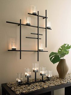 images candel sconces | Modern Grid Candle Sconce | Apartment Therapy. Square, metal, candles, tealight. Wall decor.