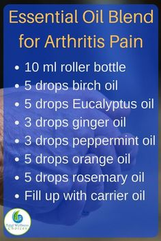 Remedies Make your own essential oil blend for arthritis pain with this simple essential oil recipe for pain. - Discover the best essential oils for rheumatoid arthritis to help you reduce inflammation as well as relieve arthritis pain and stiffness. Essential Oils For Pain, Essential Oil Uses, Doterra Essential Oils, Essential Oil Diffuser, Essential Oils Arthritis, Essential Oils For Inflammation, Hyssop Essential Oil, Essential Ouls, Yl Oils