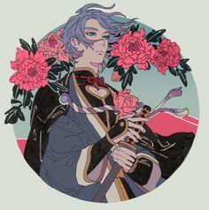 Touken Ranbu Kanesada, Character Inspiration, Character Design, Touken Ranbu Characters, Pretty Art, Art Inspo, Art Sketches, Anime Guys, Cool Art