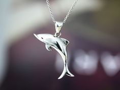 Sterling Silver Dolphin Necklace Womkens Sea Animal Pendant Charm Jewelry gift idea on Etsy, $26.00