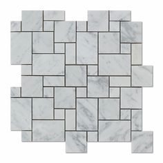 Carrara White Marble Honed Mini Versailles Mosaic Tile