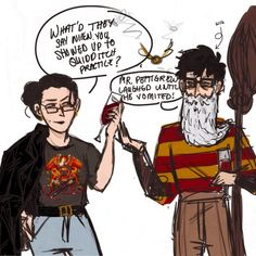 """I wasn't sure if that was J and S impersonating McG and AD or the other way around. (At least not until I saw the """"wig"""" comment) It's official. Hogwarts teachers are the best!"""