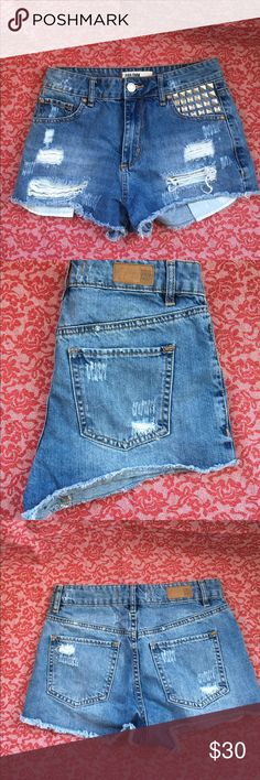 GARAGE ...Shorts Jeans shorts with studs  on left pocket destroyed shorts, very nice! Garage Shorts Jean Shorts