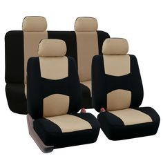 FH Group Fabric Fish Net Stitching Seat Covers W Attached Front Headrest /& Solid Bench