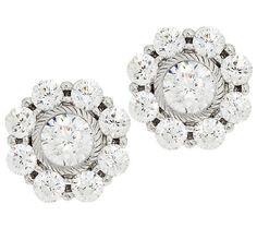 ☆Judith Ripka Sterling 118 Facet Diamonique Stud Earrings