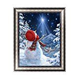 #8: Feamos 5D Diamond Painting Embroidery Kit Christmas Snowman with Snow View Cross Stitch Craft for DIY Home Wall Decoration Gift