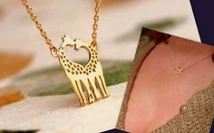Valentine's+Day+Golden+Necklace,Loving+Giraffe++from+CamelysUnikatBijoux+by+DaWanda.com