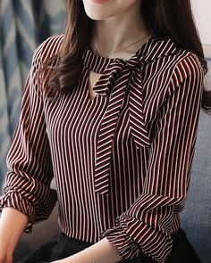 Autumn Spring Women Tie Collar Striped Long Sleeve Blouses - New In Tops Dress Neck Designs, Blouse Designs, Women Ties, Blouses For Women, Casual Dresses, Fashion Dresses, Fashion For Petite Women, Petite Outfits, Petite Dresses
