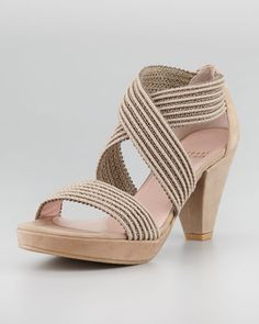 Stuart Weitzman Overreact Ottoman Stretch Sandal, Taupe - Neiman Marcus - perfect with a summer dress