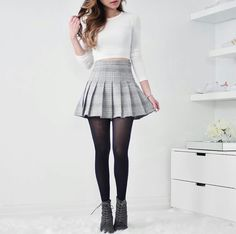 Styled like AA& essential pleated tennis skirt. This faux suede skirt is high waisted and is long enough to be somewhat modest, or you can pull it higher for Pleated Skirt Outfit, Cute Skirt Outfits, Cute Skirts, Dress Skirt, Suede Skirt, Long Skirts, Gray Skirt, Skater Skirt, Korean Outfits