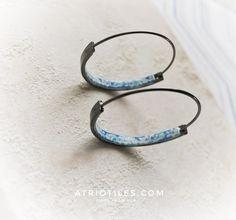 "Portugal  Antique Azulejo Tile HOOP Earrings University of Evora - Hidden Treasure - Delicate 1 1/2"" Gunmetal"