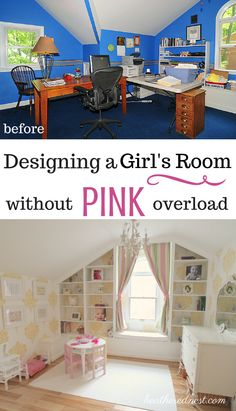 It doesn't have to be ALL PINK to be pretty!  Girls room makeover with white and yellow damask via Heathered Nest.