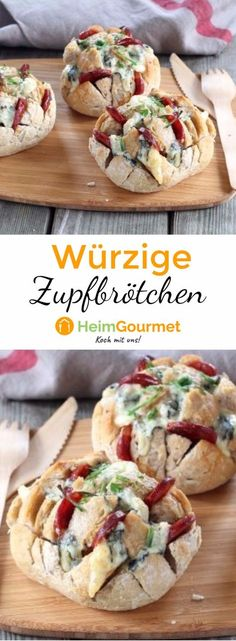 Genial: Würzige Zupf-Brötchen mit Käse These little buns with chorizo and blue cheese are covered in a jiffy and are perfect as finger food! Healthy Finger Foods, Party Finger Foods, Party Snacks, Healthy Snacks, Healthy Recipes, Brunch Recipes, Appetizer Recipes, Snack Recipes, Chorizo