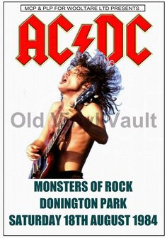 AC/DC Concert Poster Donington Park 1984 (Monsters Of Rock) A3 size Repro | eBay