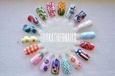 Summer themed nail art wheel I finished today. By LookAtHerNails Cute Nail Art, 3d Nail Art, Nail Art Hacks, Cute Nails, Pretty Nails, Colorful Nail Designs, Acrylic Nail Designs, Nail Art Designs, Nail Art Wheel
