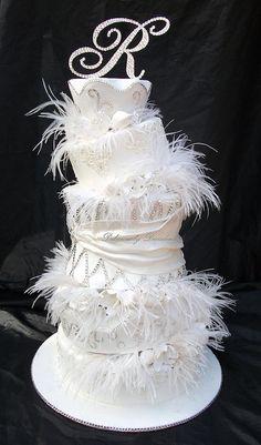 white, fanciful wedding cake