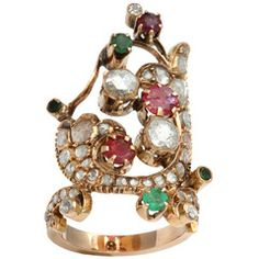 Rose Diamond amp;amp; Colored Stone Index Ring