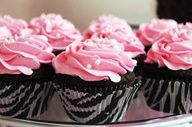 rockstar cupcakes girl--liners are at walmart and make the pink a bit brighter:) Add some black accents to icing..like etable beads