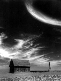 """Outside of Moses Lake Wa....I called this one """"Barn and Moon"""" because I always thought the cloud shape looked like the outline of the moon"""