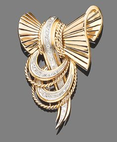 A diamond-set brooch, circa 1950 The looped ribbons of polished and ropetwist decoration with single-cut diamond highlights, length Bow Jewelry, Art Deco Jewelry, Pearl Jewelry, Antique Jewelry, Jewelery, Vintage Jewelry, Fine Jewelry, Jewelry Design, Diamond Bows