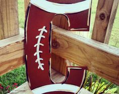 Hand-painted football themed initial