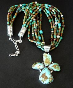 Natural Royston Turquoise 4-Stone Pendant with 6 Strands of Turquoise, Czech Glass, Pearls & Sterling