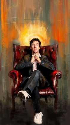 "May your day be filled with marvel and mysteries! #BenedictCumberbatch   ""Sitting Benedict"" by WisesnailArt: http://bit.ly/29KHxn7"